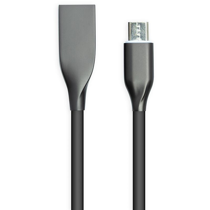 Купить Кабель PowerPlant USB - microUSB, 1м, силикон, черный