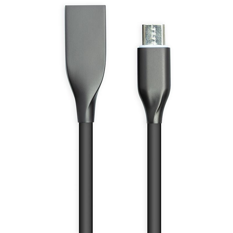 Купить Кабель PowerPlant USB - microUSB, 2м, силикон, черный