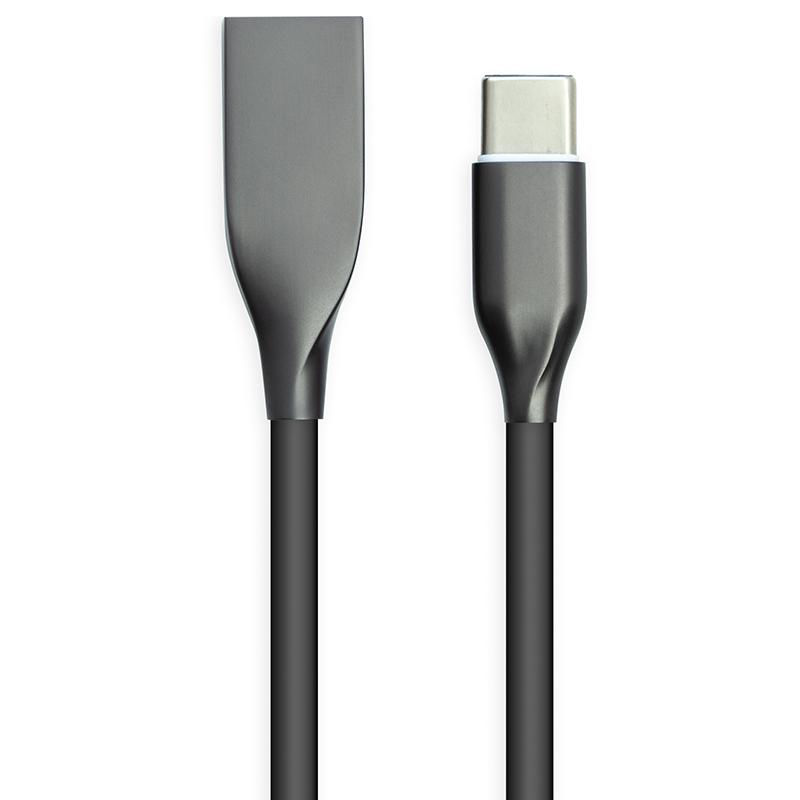 Купить Кабель PowerPlant USB - Type-C, 2м, силикон, черный