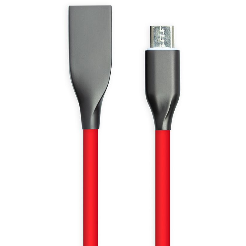 Купить Кабель PowerPlant USB - microUSB, 2м, силикон, красный