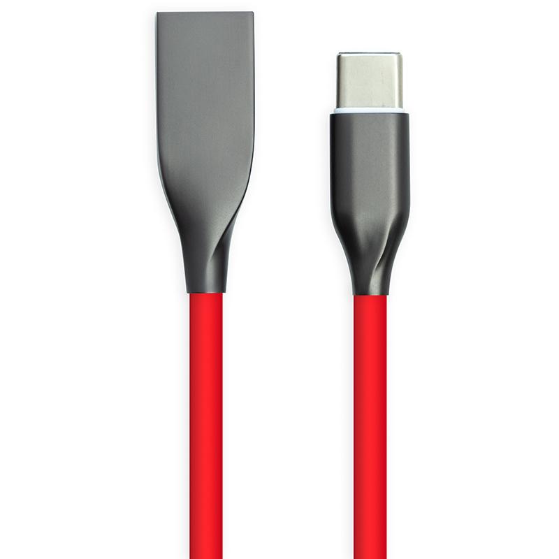 Купить Кабель PowerPlant USB - Type-C, 1м, силикон, красный