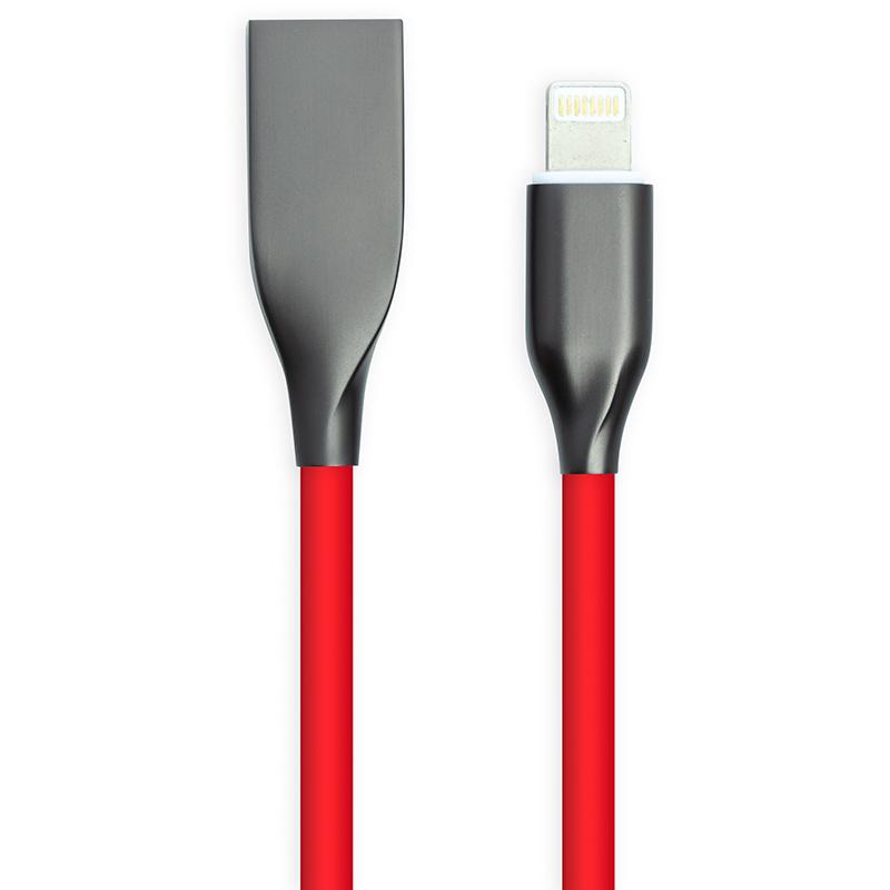 Купить Кабель PowerPlant USB - Lightning, 2м, силикон, красный