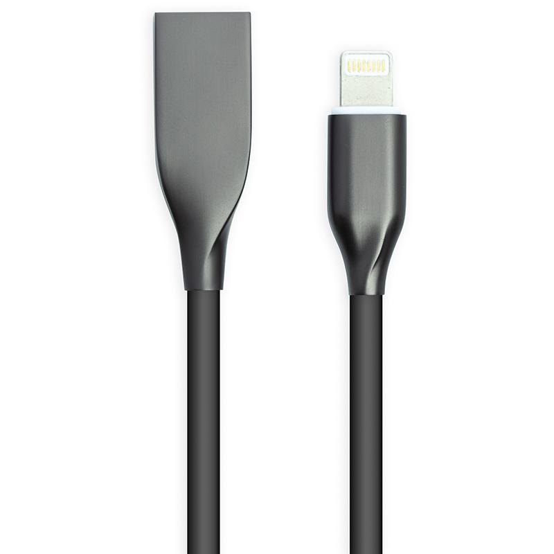 Купить Кабель PowerPlant USB - Lightning, 2м, силикон, черный