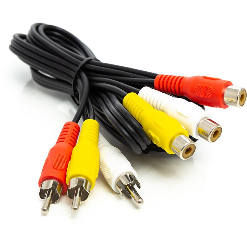 Купить Аудио кабель PowerPlant 3*RCA (M) - 3*RCA (F), 1 м
