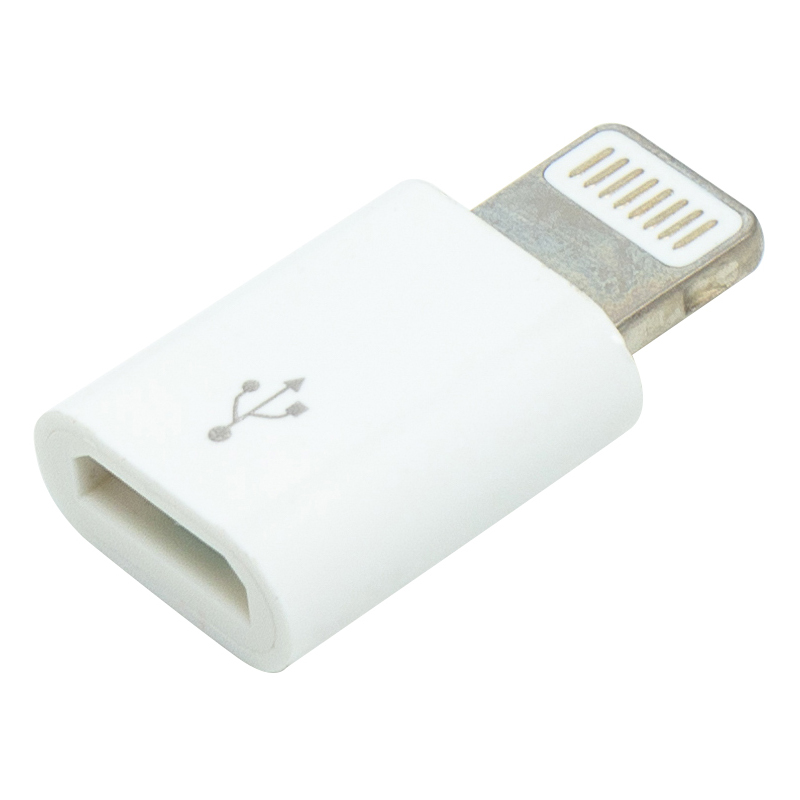 Купить Переходник PowerPlant micro USB (F) - Lightning (M)