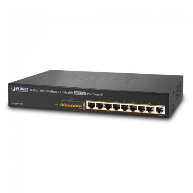В наличии - Неуправляемый гигабитный коммутатор PoE Planet FGSD-910P (8-Port 10/100Mbps 802.3af PoE+1-Port 10/10 цена, характеристики