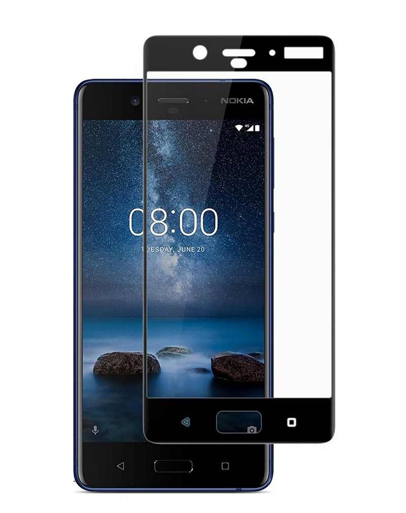 Купить Защитное стекло Full screen PowerPlant для Nokia 8 Black