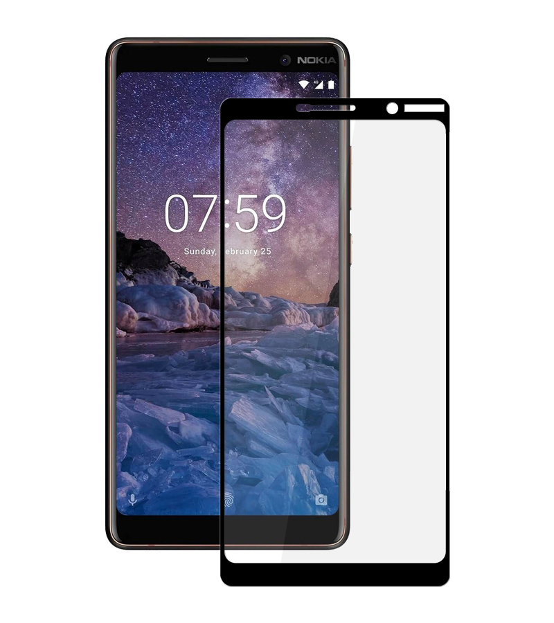 Купить Защитное стекло Full screen PowerPlant для Nokia 7 Plus, Black