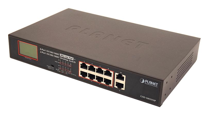 Купить Неуправляемый гигабитный коммутатор PoE Planet GSD-1002VHP (8Port 10/100/1000Mbps 802.3atPoE+2Port 1