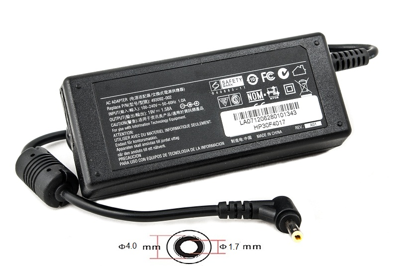 Купить Блок питания для ноутбуков PowerPlant HP 220V, 19V 30W 1.58A (4.0*1.7)