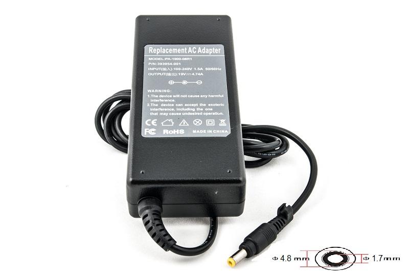 Купить Блок питания для ноутбуков PowerPlant HP 220V, 19V 90W 4.74A (4.8*1.7)