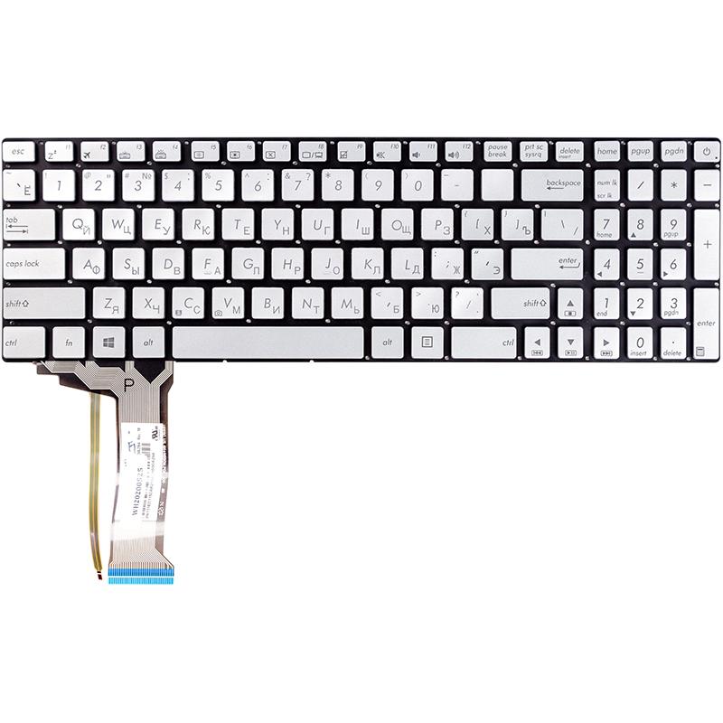 Купить Клавиатура для ноутбука ASUS N551, N551JQ серебристый, без фрейма