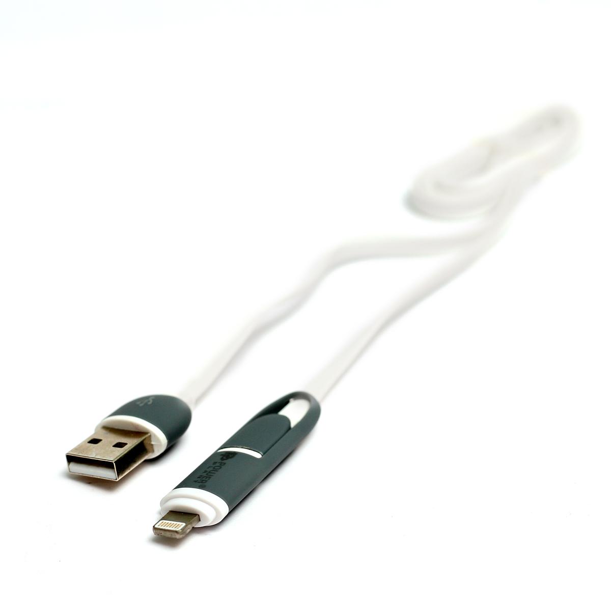 Купить Кабель PowerPlant Quick Charge 2A 2-в-1 flat USB 2.0 AM – Lightning/Micro 1мВwhite