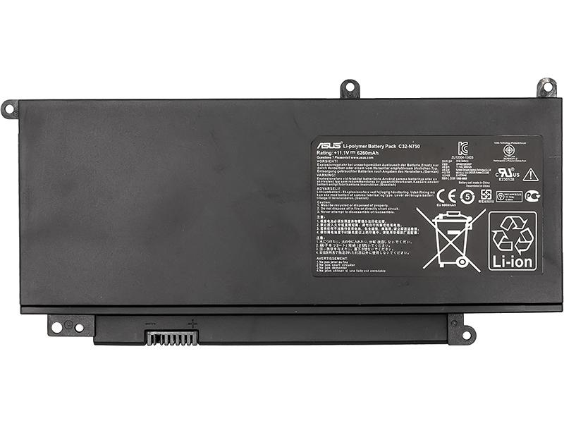 Купить Аккумулятор для ноутбуков ASUS N750 Series (C32-N750) 11.1V 69Wh (original)