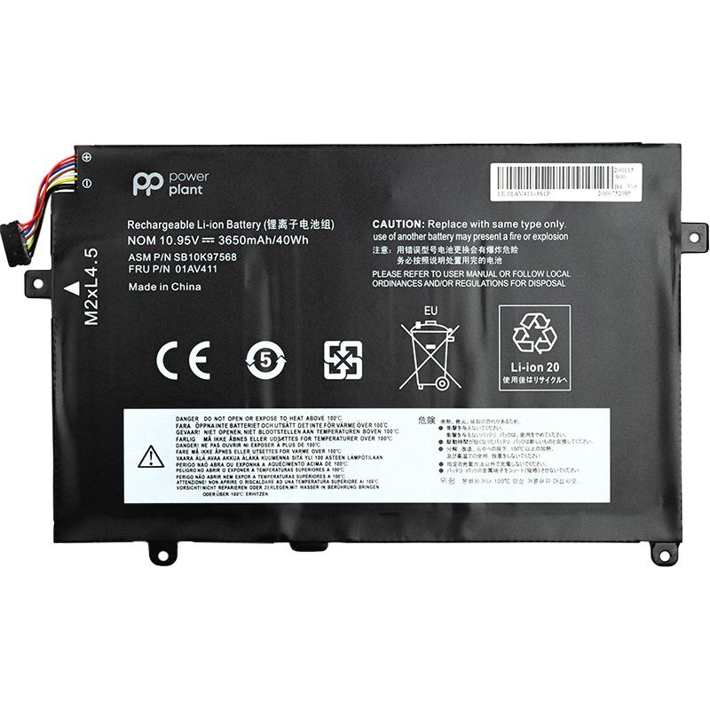 Купить Аккумулятор PowerPlant для ноутбуков Lenovo Thinkpad E470 (01AV411) 10.95V 3650mAh