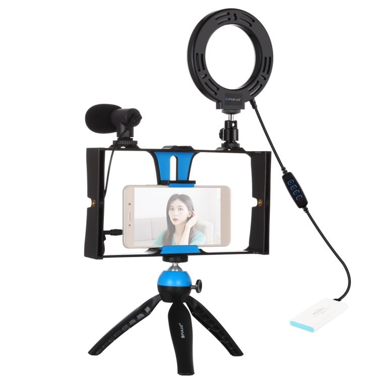 Купить Комплект блогера Puluz PKT3025L 4в1 (кольцевой свет, крепление, держатель для телефона, микрофон)