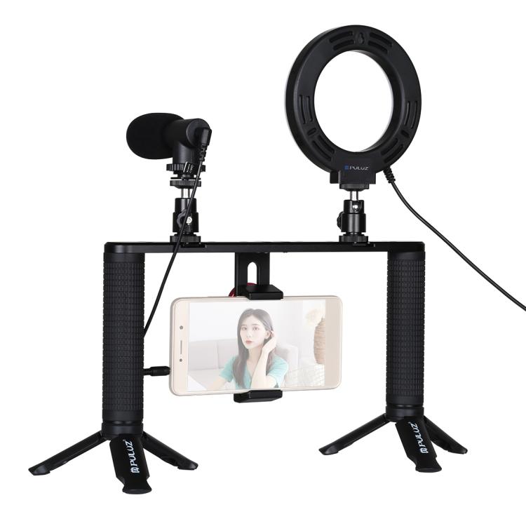 Купить Комплект блогера Puluz PKT3028 4в1 (кольцевой свет, крепление, держатель для телефона, микрофон)