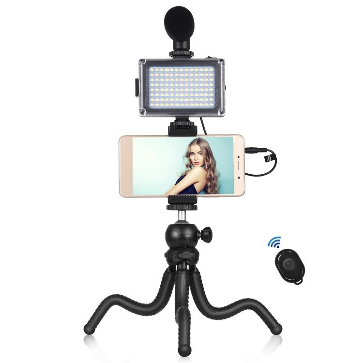 Купить Комплект блогера Puluz PKT3094B 4в1 (свет, крепление, держатель для телефона, микрофон)