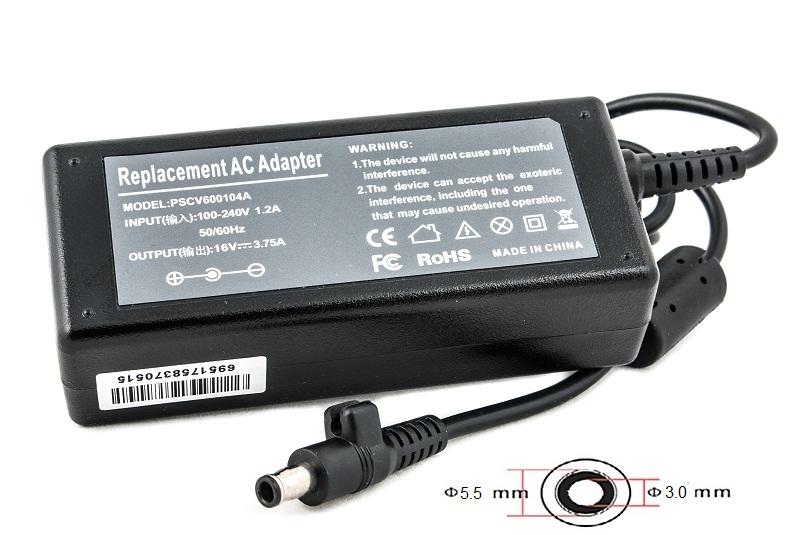 Купить Блок питания для ноутбуков PowerPlant SAMSUNG 220V, 16V 60W 3.75A (5.5*3.0)