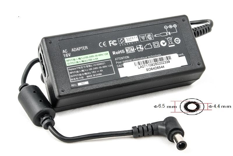 Купить Блок питания для ноутбуков PowerPlant SONY 220V, 16V 64W 4A (6.5*4.4)